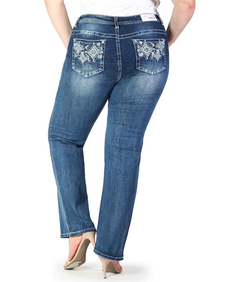 Grace In LA Women's Diamond Pocket Straight Jeans - Plus , Blue, hi-res