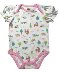 John Deere Infant Girls' Farm Print Onesie , White, hi-res