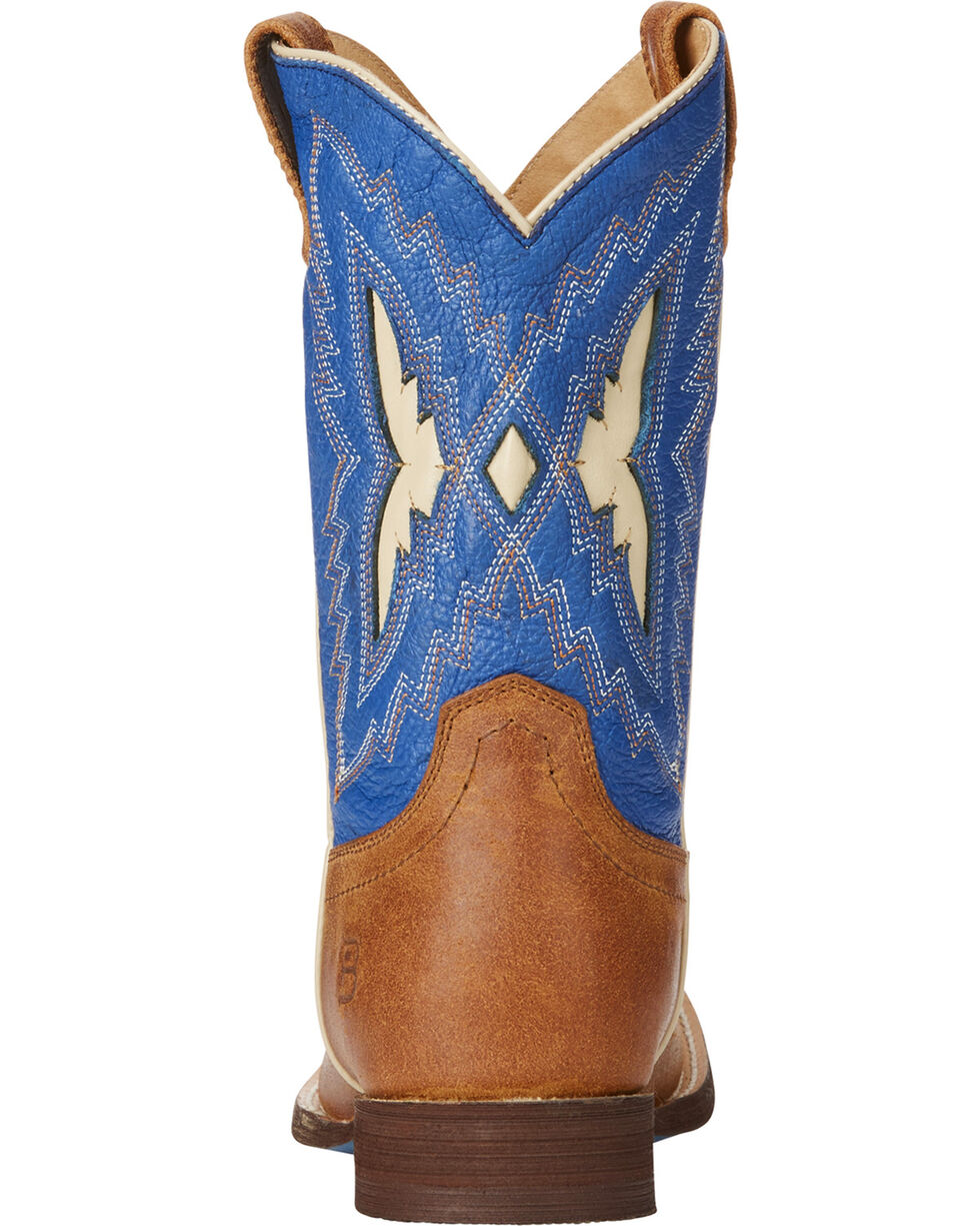 Ariat Boys' Blue Relentless Top Notch Western Boots - Square Toe , Tan, hi-res