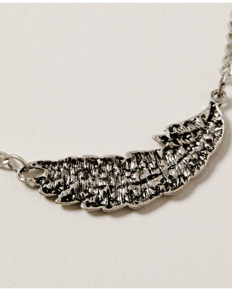 Shyanne Women's Mystic Summer Layered Teardrop & Feather Necklace, Silver, hi-res
