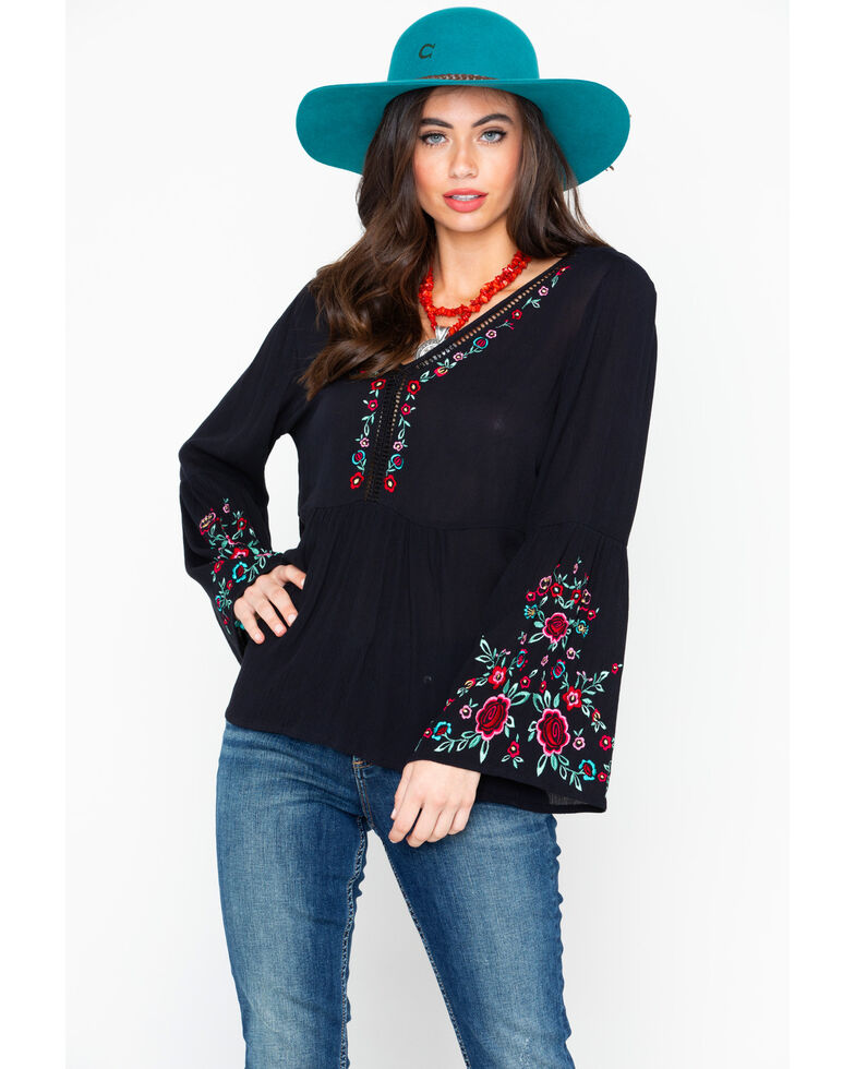 Bila Women's Floral Peasant Embroidered Bell Long Sleeve Top  , Black, hi-res