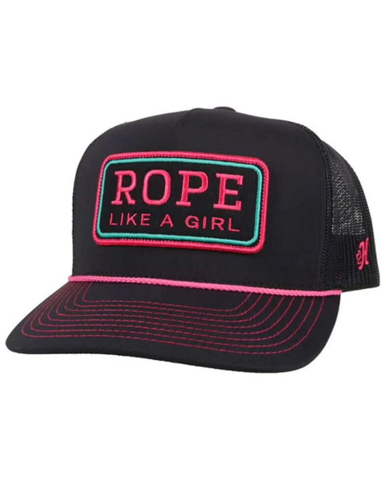 HOOey Women's Black & Pink Rope Like A Girl Mesh-Back Ball Cap , Black, hi-res