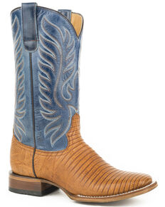Roper Women's Tan Eroica Lizard Teju Boots - Square Toe, Tan, hi-res