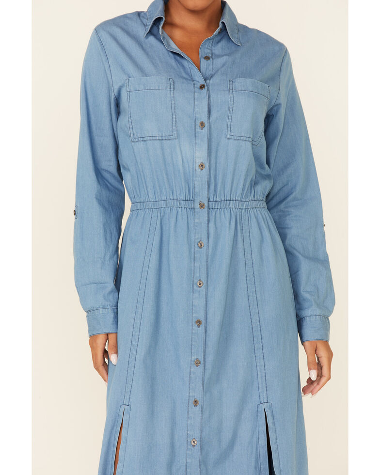 Cotton & Rye Outfitters Women's Blue Button Front Dress, Blue, hi-res