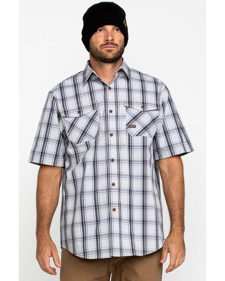 Ariat Men's Grey Plaid Rebar Made Tough Short Sleeve Work Shirt - Tall , Dark Grey, hi-res