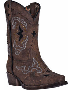 Laredo Girls' Rulay Cowgirl Boots - Snip Toe, Brown, hi-res