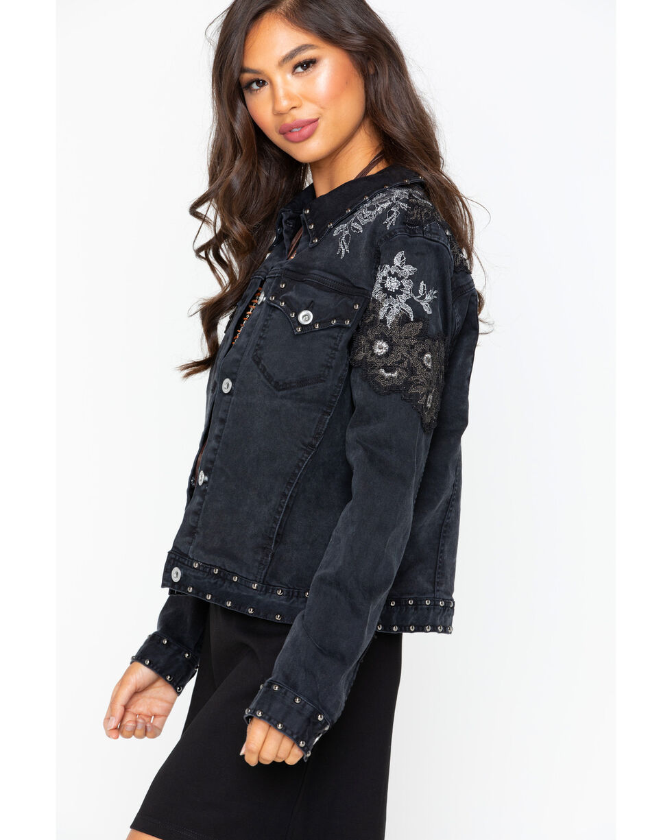 Grace in LA Women's Embellished Jacket , Black, hi-res