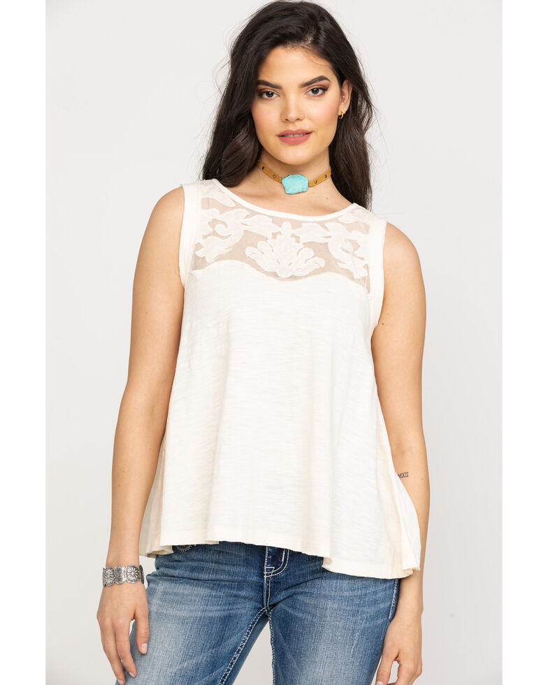 Shyanne Women's Solid Lace Tank Top, Ivory, hi-res