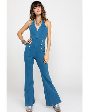 Flying Tomato Women's Flare Halter Denim Jumpsuit, Blue, hi-res