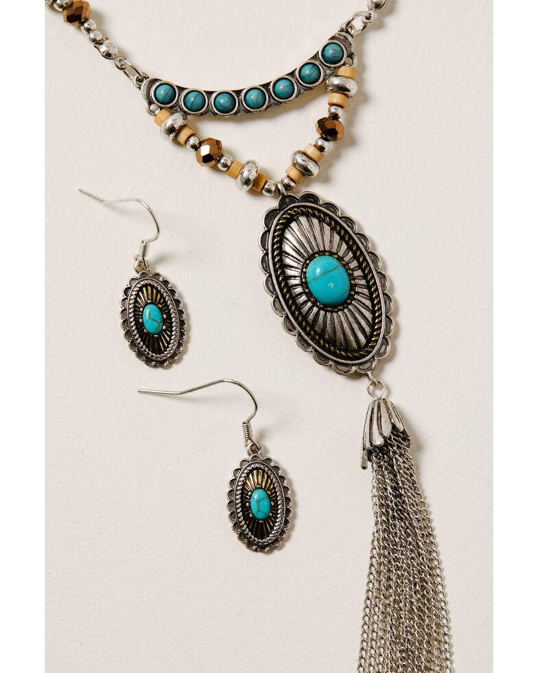 Shyanne Women's Ida Long Beaded Necklace Set, Silver, hi-res