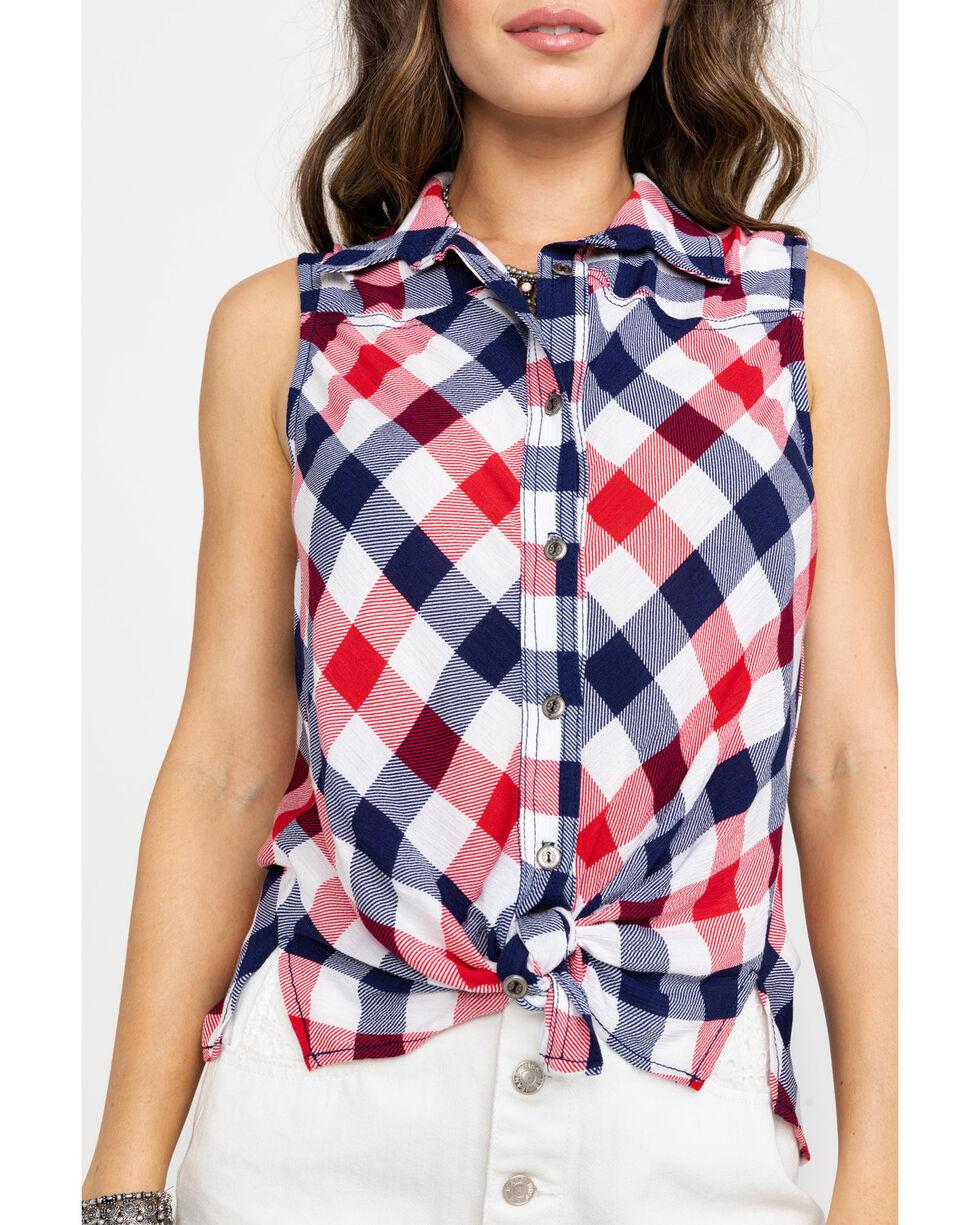 Nikki Erin Women's Red  White & Blue Plaid Tie-Up Western Sleeveless Shirt, Red/white/blue, hi-res