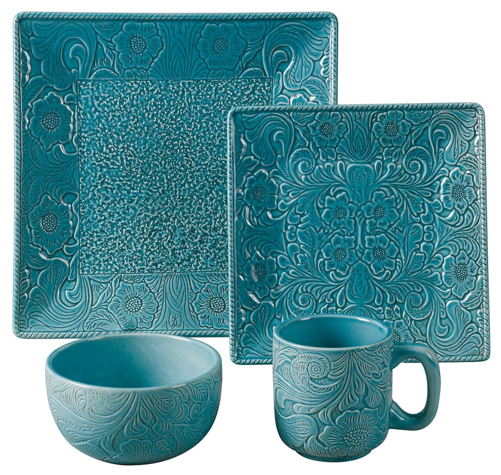 HiEnd Accents Savannah Turquoise Dinnerware Set, Turquoise, hi-res
