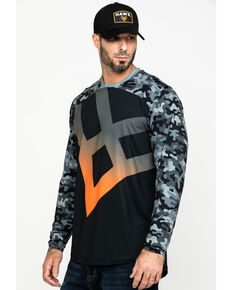 Hawx® Men's Black Logo Moto Performance Long Sleeve Work T-Shirt , Black, hi-res