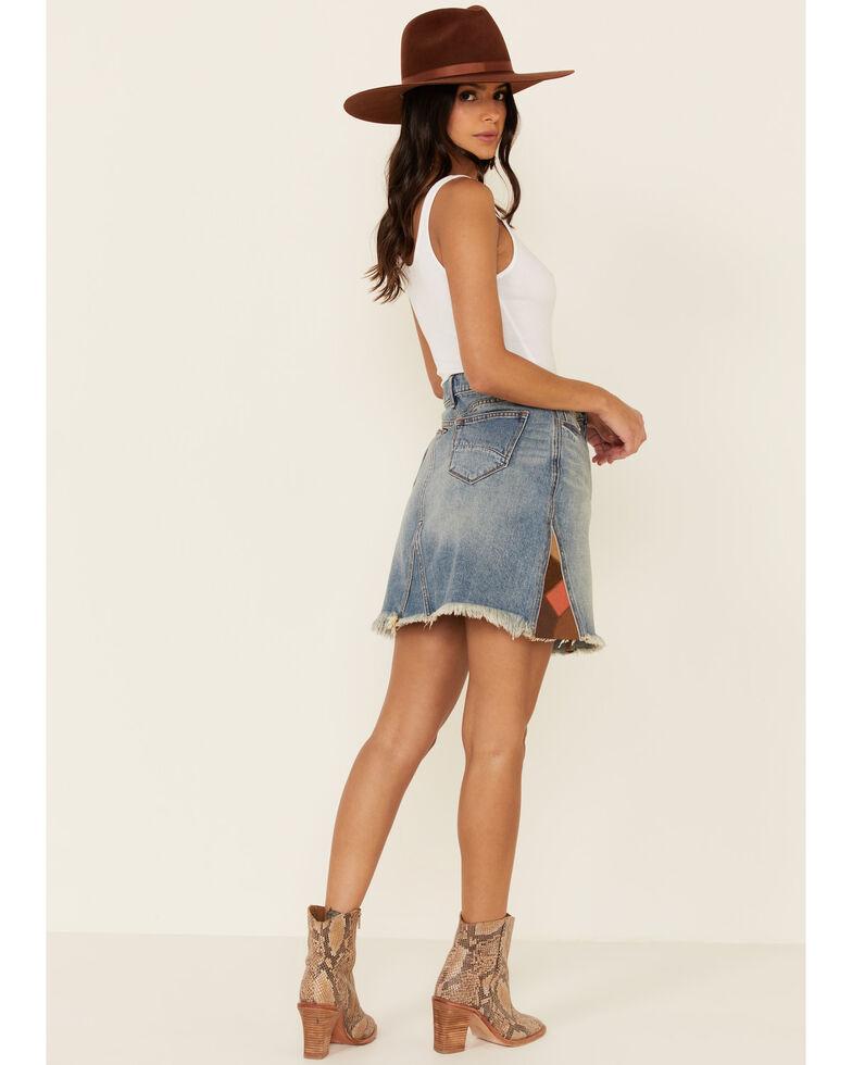 Driftwood Women's Light Wash Patchwork Denim Skirt, Blue, hi-res