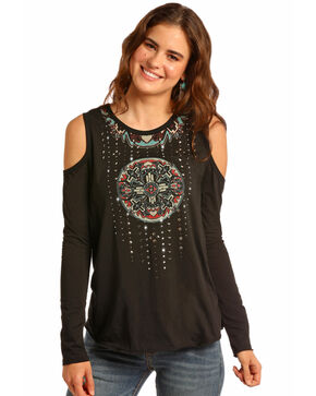 Rock & Roll Cowgirl Women's Beaded Mandala Cold Shoulder Top, Black, hi-res