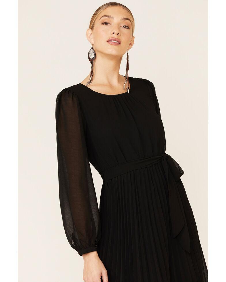 Very J Women's Pleated Midi Dress, Black, hi-res