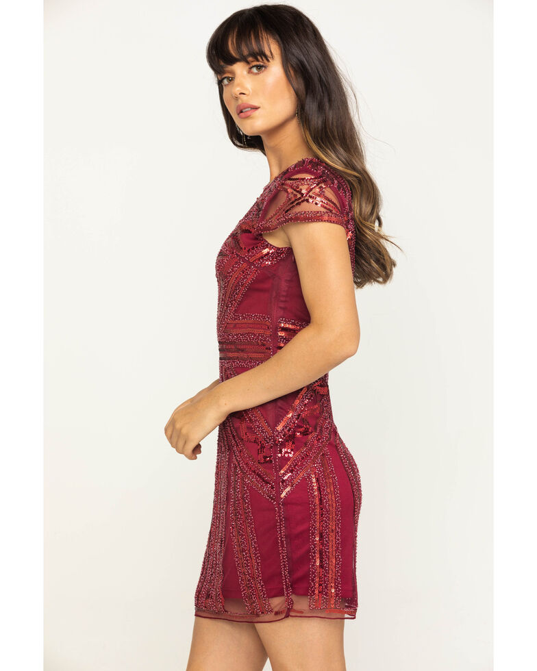 Molly Bracken Women's Sequin Detailed Party Dress, Red, hi-res
