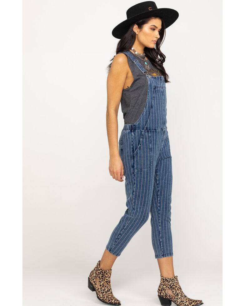 Z Supply Women's Blue The Stripe Knit Denim Overalls, Blue, hi-res