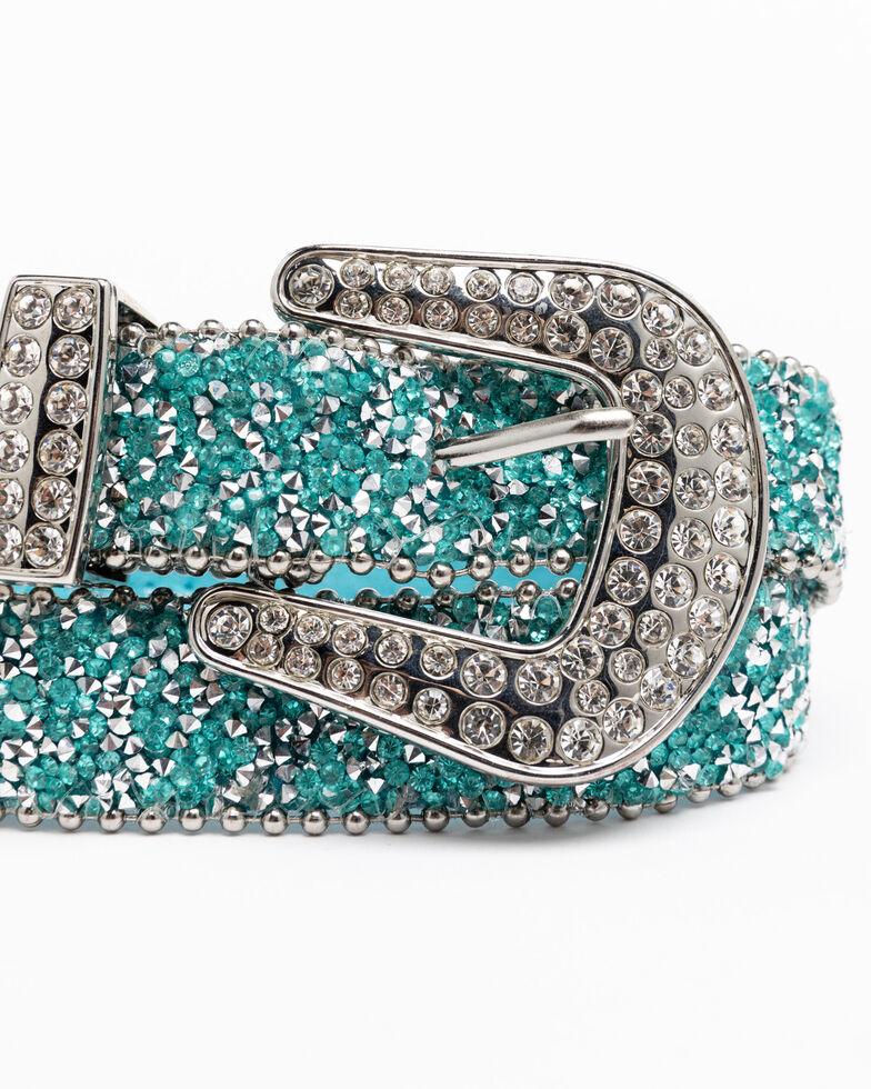 Shyanne Girls' Turquoise Shimmer Glitz Belt, Turquoise, hi-res