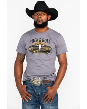 Rock & Roll Cowboy Men's Steer Hood Ornament Muscle Car T-Shirt, Charcoal, hi-res