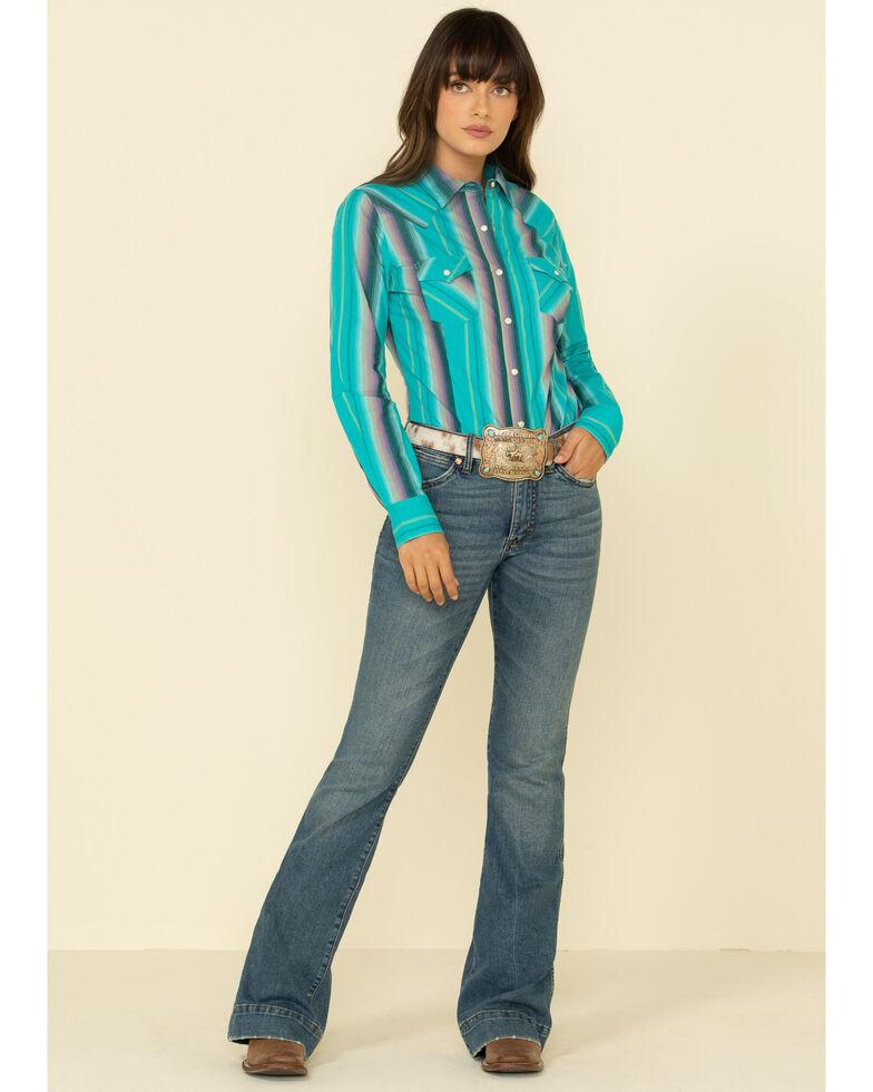 Wrangler Women's Turquoise Stripe Snap Long Sleeve Western Shirt, Turquoise, hi-res