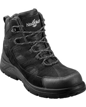 Nautilus Men's Black Metal Free Waterproof Lace-Up Work Boots - Composite Toe , Black, hi-res