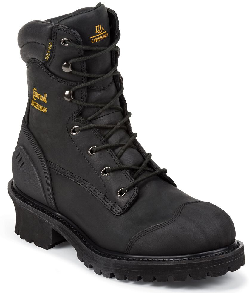 "Chippewa Waterproof & Insulated 8"" Lace-Up Work Boots - Composite Toe, Black, hi-res"