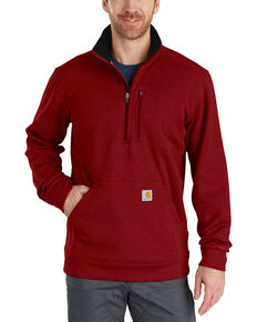 Carhartt Men's Force Extremes Mock-Neck Half-Zip Pullover, Dark Red, hi-res