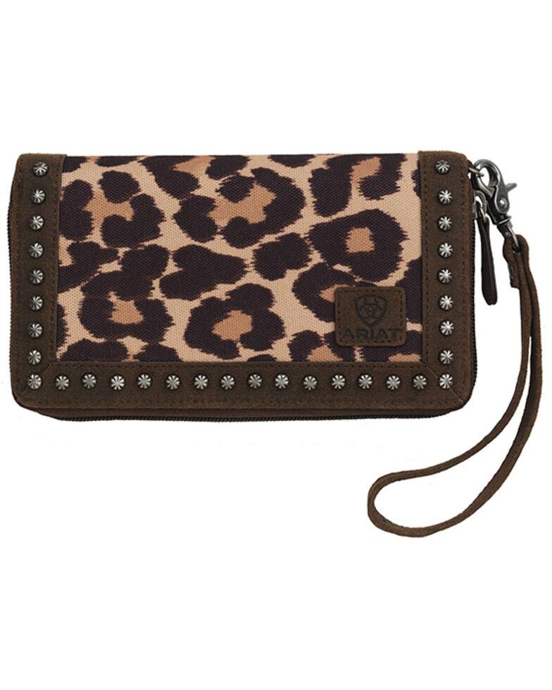Ariat Women's Leopard Print Clutch Wallet, Leopard, hi-res