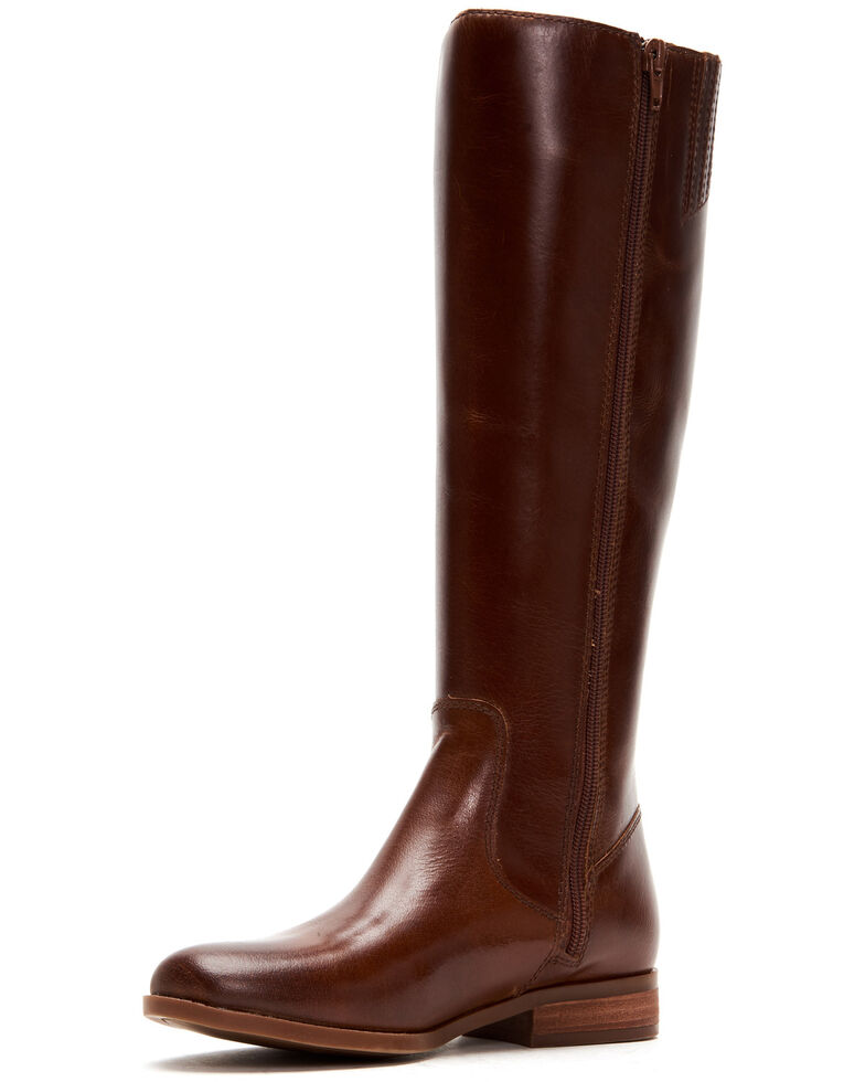 Frye & Co. Women's Cognac Jolie Braid Inside Zip Leather Western Boots - Round Toe , Cognac, hi-res