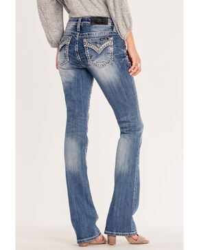 Miss Me Women's Sequin Weave Pocket Outline Boot Jeans, Blue, hi-res