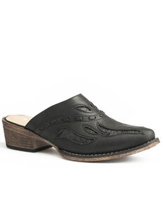 Roper Women's Black Whipstitched Mule Shoes - Snip Toe, Black, hi-res