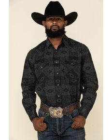 Rough Stock By Panhandle Men's Pierrepoint Southwest Print Long Sleeve Western Shirt , Black, hi-res