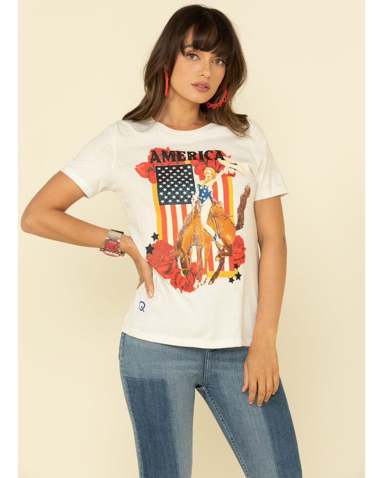 Rodeo Quincy Women's American Girl Graphic Tee, White, hi-res