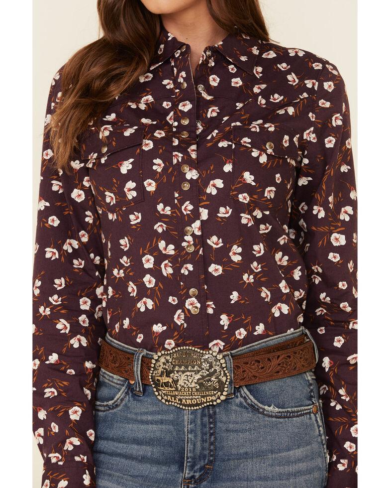 Shyanne Life Women's Purple Floral Print Long Sleeve Western Shirt , Grape, hi-res