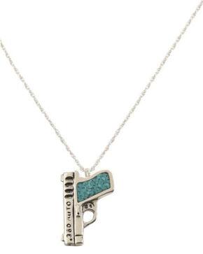 Silver Legends Women's 380 Auto Pistol Necklace , Turquoise, hi-res