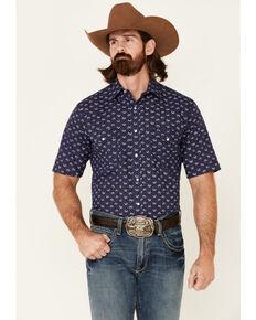 Roper Men's Blue Floral Print Short Sleeve Snap Western Shirt , Navy, hi-res