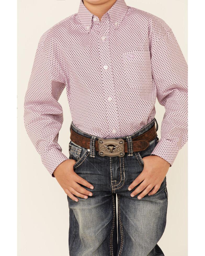 Panhandle Select Boys' Purple Geo Print Long Sleeve Button-Down Western Shirt , Purple, hi-res