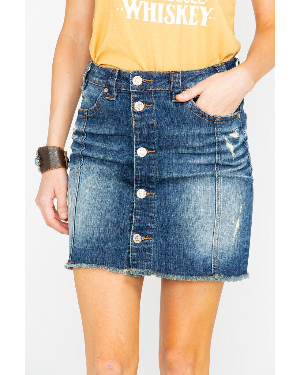 Rock & Roll Cowgirl Women's Lowrise Denim Skirt, Medium Blue, hi-res