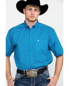 Ariat Men's Sparrow Stretch Geo Print Short Sleeve Western Shirt , Turquoise, hi-res