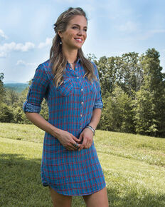 Ryan Michael Women's Indigo Keystone Plaid Dress , Indigo, hi-res