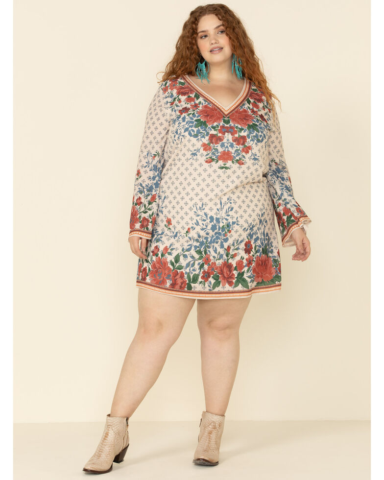 Flying Tomato Women's Ivory Floral Print Bell Sleeve Dress - Plus, Ivory, hi-res