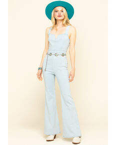 Jealous Tomato Women's Light Wash Denim Flare Jumpsuit  , Light Blue, hi-res