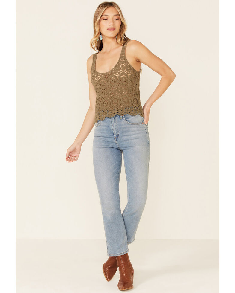 Very J Women's Crochet Sweater Knit Tank Top , Olive, hi-res