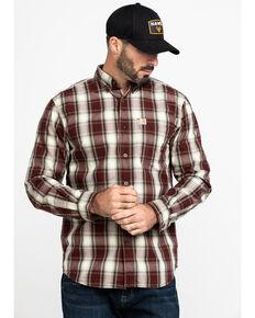 Carhartt Men's Brown Essential Plaid Long Sleeve Work Shirt - Tall , Brown, hi-res
