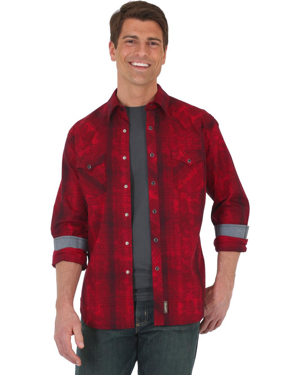 Wrangler Retro Men's Red Plaid with Overprint Long Sleeve Snap Shirt - Big & Tall, Red, hi-res