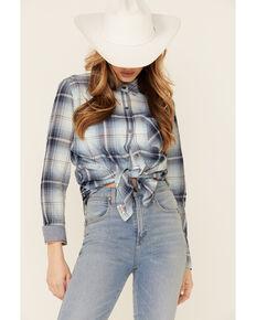 Flag & Anthem Women's Chelsea Plaid Long Sleeve Button-Down Western Core Shirt , Blue, hi-res
