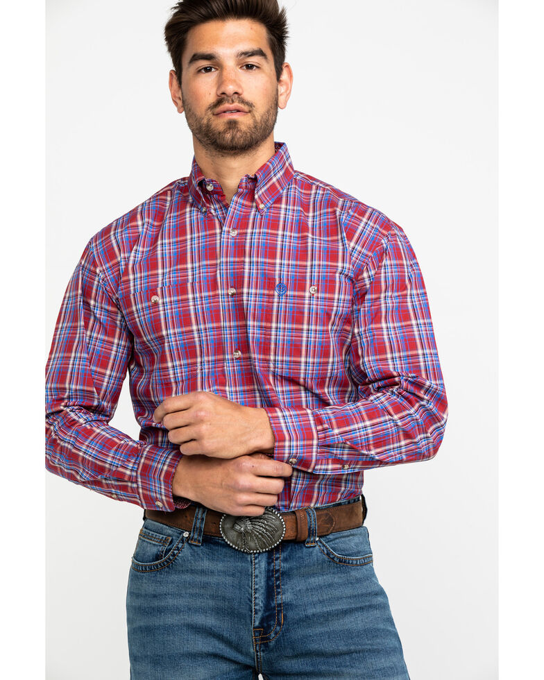 George Strait by Wrangler Men's Red Plaid Long Sleeve Western Shirt , Red, hi-res
