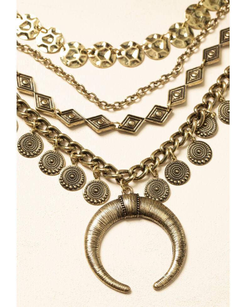 Shyanne Women's Cresent Sunset Coin Crescent Bib, Bronze, hi-res