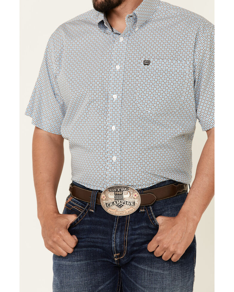 Cinch Men's White Floral Geo Print Short Sleeve Western Shirt , White, hi-res